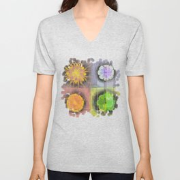 Stibiated In Dishabille Flower  ID:16165-125308-23431 Unisex V-Neck