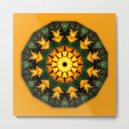 Iris 002.2, Nature Flower Mandala, Floral mandala-style Metal Print