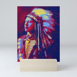 John Hollow Horn Bear, Sioux 1898 Neon art by Ahmet Asar Mini Art Print