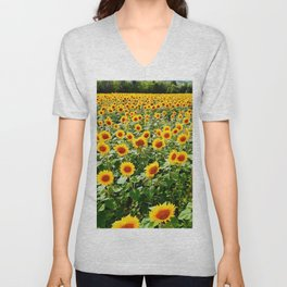 Field of Sunny Flowers Unisex V-Neck