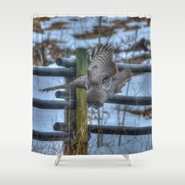 Dive, Dive, Dive! - Great Grey Owl Hunting Shower Curtain