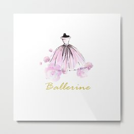 Flowers And Rosy Ballerina Metal Print
