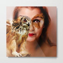 woman owl Metal Print