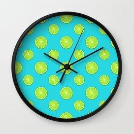 pattern of lemon limes Wall Clock