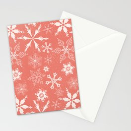 Snowflake collection - snowflake pattern in coral Stationery Cards