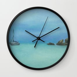 boat in Radical bay, original oil painting Wall Clock