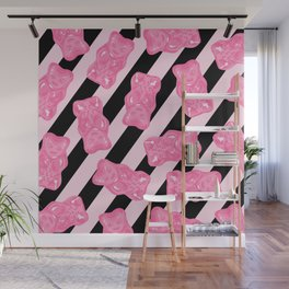 Jelly Beans & Gummy Bears Pattern - Pink and Black Wall Mural
