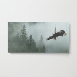 Battle for the Cedars - Bald Eagles Wildlife Scene Metal Print