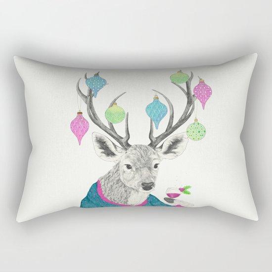 Mr. Deer gets festive  Rectangular Pillow