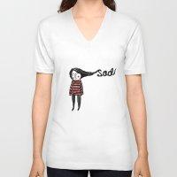 sad V-neck T-shirts featuring Sad by Tuesday Logan
