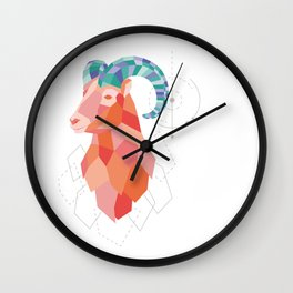 Low Poly Big Horned Sheep Wall Clock
