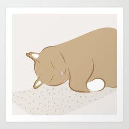 Happy Sleepy Kitty Illustration Art Print