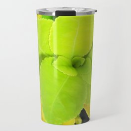 Macro Acid Lime Green Leaves Travel Mug