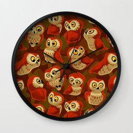 Northern Saw-whet owls pattern. Wall Clock