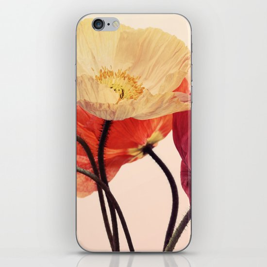 Posing Poppies - bright, vintage toned poppy still life iPhone & iPod Skin