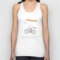 bicycles Tank Tops featuring seagulls on bicycles by Marc Johns