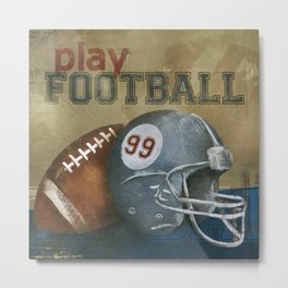 play football blue Metal Print