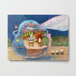 Escape at night from a fish bowl Metal Print