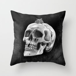 Cracked skull with mouse BW Throw Pillow