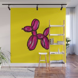 Doggy - pink & yellow Wall Mural