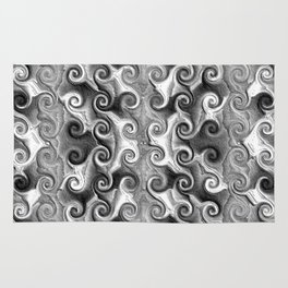 Black White Seamless Wave Spiral Abstract Pattern Rug