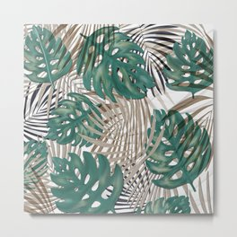 Tropical Leaves Nature Print Palm Fronds Metal Print