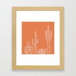 Terracotta cactus illustration white outline art Framed Art Print