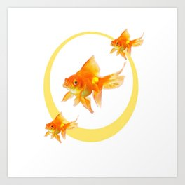 3 GOLDFISH SWIMMING PATTERN MODERN ART Art Print