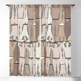 Retro Male Swimmers Blackout Curtain