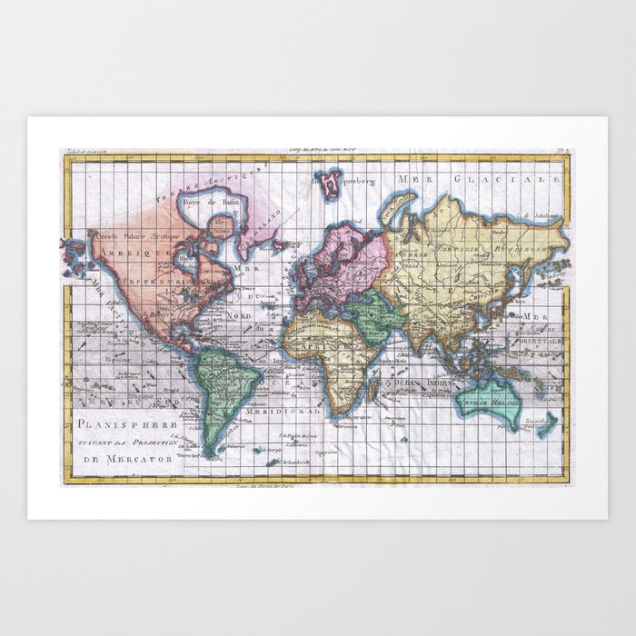 Vintage map of the world 1780 art print by bravuramedia society6 gumiabroncs Images