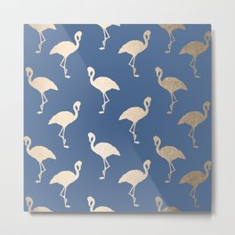 Gold Flamingo on Aegean Blue Metal Print