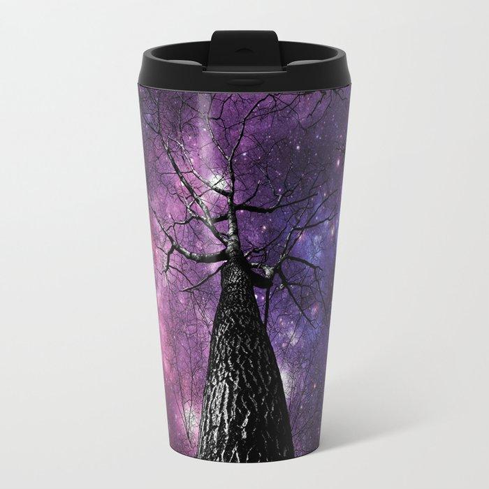 Wintry Trees Deep Purple Galaxy Skies Travel Mug