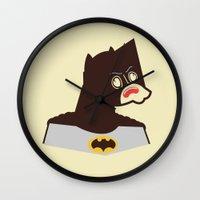 bat man Wall Clocks featuring Bat Man by Ryder Doty