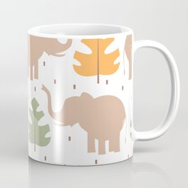 cute pattern background illustration with elephants and tropical exotic leaves Coffee Mug