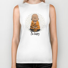 Be Happy Little Buddha Biker Tank