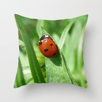 ladybug Throw Pillows featuring Ladybug by MehrFarbeimLeben