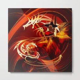 Tänzerin mit Drachen Metal Print