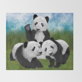 Panda Bear Cubs Love Throw Blanket