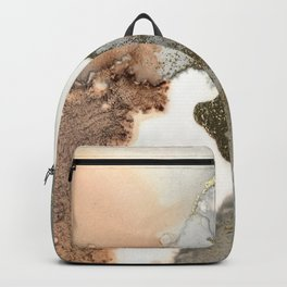 Abstract ink painting of black, pink and gold Backpack
