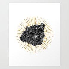 Bear Attack Art Print