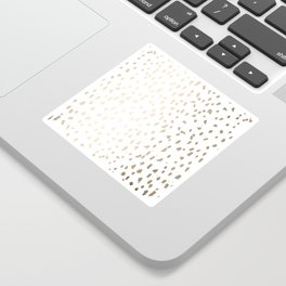 Luxe Gold Painted Polka Dot on White Sticker
