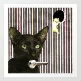 Hekate greek goddess cat keeper of the key handcut collage Art Print