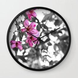 Pink Upon Grey Wall Clock