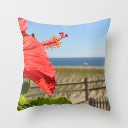 Tropical Floral & Surf/Beach - Ocean City, NJ Throw Pillow