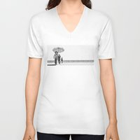 pablo picasso V-neck T-shirts featuring PABLO PICASSO AT BEACH by VAGABOND