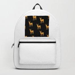 Golden Deer on Black Background Backpack