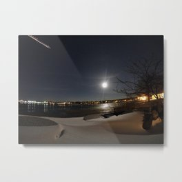 Airplane Flying by a Rising Snow Moon in Southern Maine Metal Print