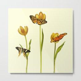 Tulips & Butterflies Metal Print