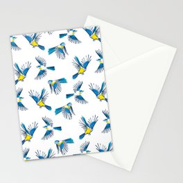Flying Blue Tit / Bird Pattern Stationery Cards