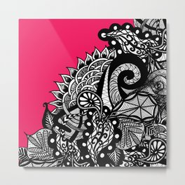 Black White Hand Drawn Tangle Floral Doodle Pink Metal Print